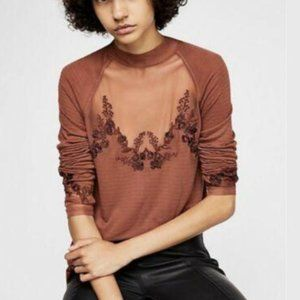 Free People Women's Saheli Mesh Top Embroidered XS
